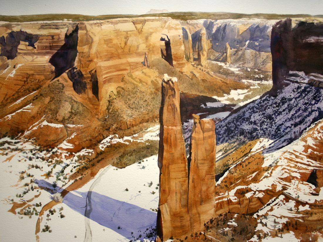 canyon snows | watercolor | 22 x 30 • S