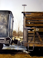 wooden boxcar | watercolor | 30 x 22 SOLD | GICLEE AVAILABLE