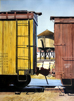weathered boxcars |watercolor | 30 x 22 SOLD